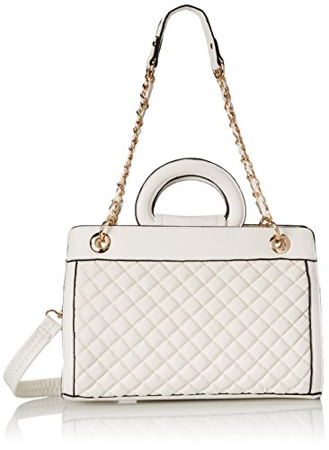MG Collection Sylvia Quilted Tote Shoulder Bag, White, One (White Classic Tote)