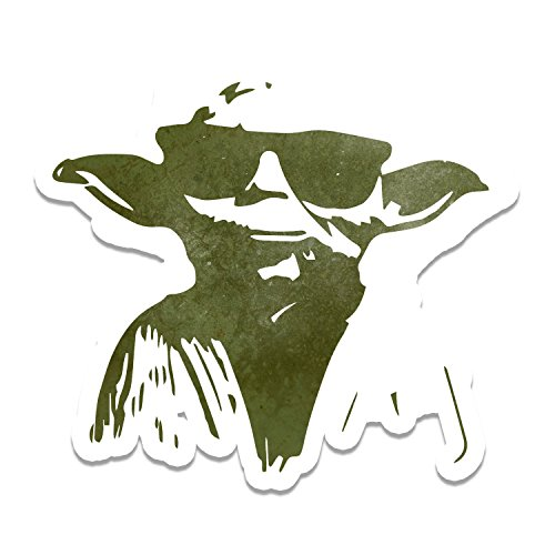 Yoda Inspired Cartoon Sunglasses Cool Window Laptop Car Sticker - In Yoda Sunglasses