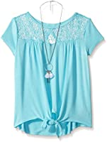 Amy Byer Girls' Tie Front Top with Lace Yoke