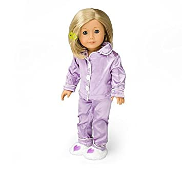 Dress Along Dolly Ropa de la Muñeca para Muñecas Pijamas de Seda Púrpura American Girl Incluye
