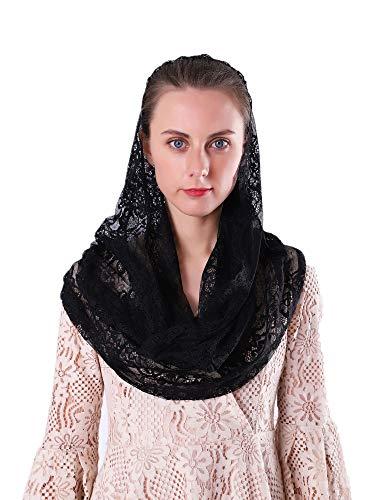 Black Infinity Scarf Mantilla - Catholic Veils for Mass Head Covering Lace Church Headscarf (Black) ()
