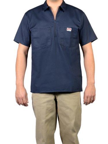Ben Davis Solid Color Short Sleeve Work Shirts Navy Large