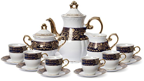 - Euro Porcelain Premium 17-pc Dark Cobalt Blue Tea Cup Coffee Set, 24K Gold-Plated Vintage Flower Pattern, Complete Service for 6, Original Czech Tableware