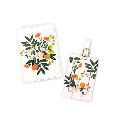 Steel Mill & Co Women's Luggage Tag and Passport Holder/Cover/Wallet Travel Accessories Set, Citrus Floral