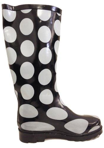 G4u Femmes Bottes De Pluie Plusieurs Styles Couleur Mi-mollet Wellies Boucle Mode Caoutchouc Genou Haute Neige Chaussures Grands Points Noirs