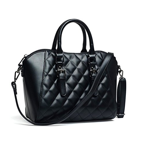 Mn&Sue Vintage Diamond Quilted Pattern Reversible Top Handle Tote Shell Boston Handbag Office Lady Purse (Black)