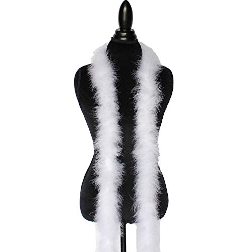 - White 22 Grams Marabou Feather Boa 6 Feet Long Crafting Sewing Trim