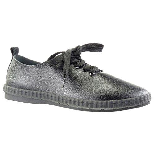 Angkorly - Zapatillas de Moda Deportivos low mujer Talón tacón plano 0 CM - Negro