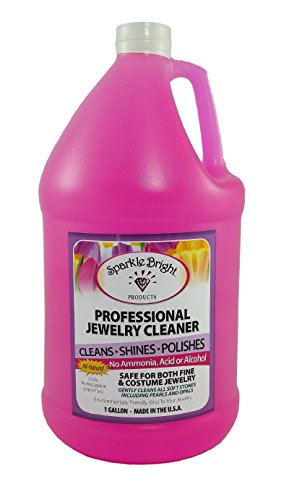 [Sparkle Bright All-Natural Jewelry Cleaner Solution - One Gallon (128oz.) | Jewelry Cleaning for Ultrasonic, Diamonds, Fine, Costume, Designer, Fashion] (Van Cleef Arpels Costume Jewelry)