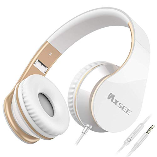 IAXSEE I70 Headphones with Microphone and Volume Control Portable for Girls Stereo Lightweight Adjustable Wired Headsets for iPad iPod Android Smartphones Laptop Mp3(White Gold)