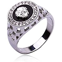 A.Yupha Vintage Men Jewelry Stainless Steel Pinky Engagement Ring Mens Wedding Band 17-22 (Platinum) (21mm)