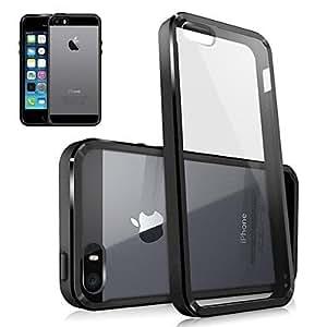 TY-Resistente a arañazos Caso fondo transparente para iPhone 5/5S (colores surtidos) , Negro