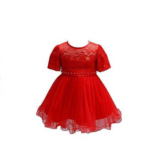 ZAMME Vestido de niña de niña de bautizo bautizos vestido de niña de flor Rojo