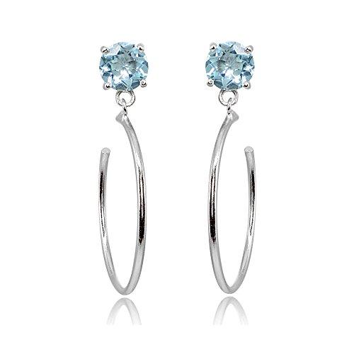 Sterling Silver 5mm Blue Topaz Dangling Round Half Hoop Stud Earrings by GemStar USA