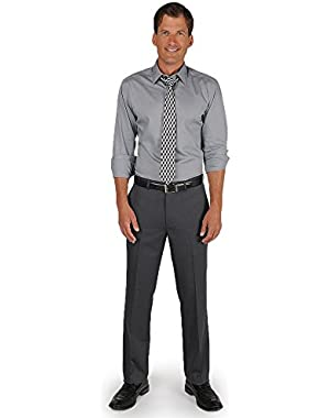 Gray Tonal Plaid Flat Front Two Pocket New Men's Dress Pants