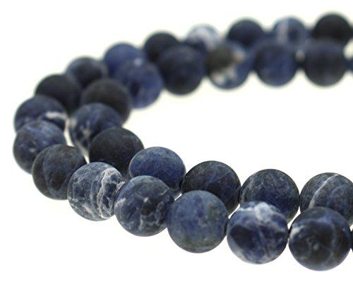(GoodBead Gorgeous Navy Blue Sodalite Smooth Round Matte Beads 15.5
