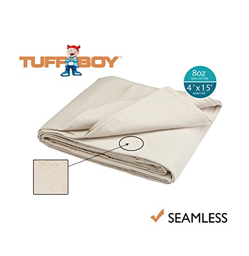 - TUFFBOY 8 OZ. Heavy Weight Cotton Canvas All Purpose Drop Cloth 4 Ft. X 15 Ft. | SEAMLESS