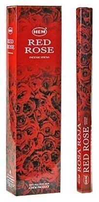 Red Rose - Hem Jumbo 16 Inch Incense Sticks 10 Stick Hexagon Box (Set of 6)