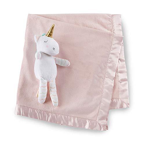 Baby Aspen Unicorn Plush Stuffed Animal Plus Baby Blanket Gift Set, Light & Dark Pink/White/Aqua/Gold