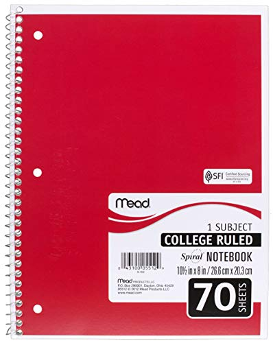 Mead SLTYGJHJ Spiral Notebooks, 1 Subject, College Ruled Paper, 70 Sheets, 10-1/2'' x 7-1/2'', Assorted Colors, 6 Pack (73065) 36 Pack by Mead (Image #2)