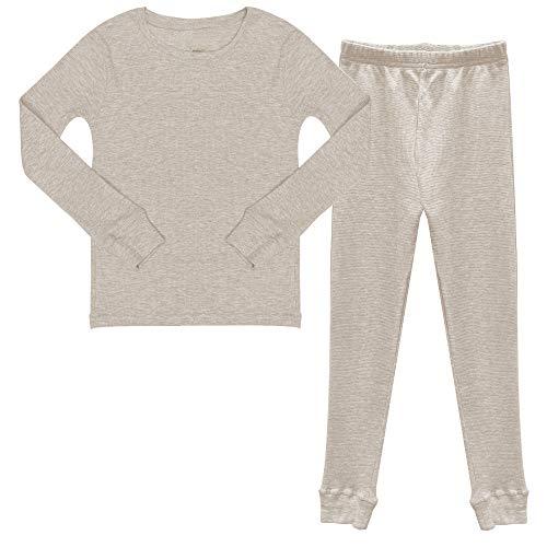 Popular Boy's Cotton Waffle Thermal Underwear Set - Oatmeal - M (8/10)