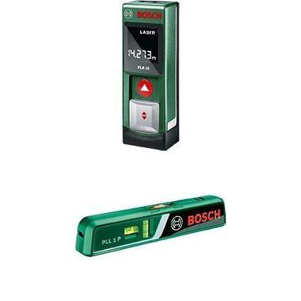 Bosch PLR 15 - Medidor láser/detector + Bosch PLL 1 P - Nivel de