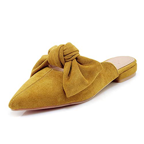 MAVIRS Loafers for Women, Womens Loafers Suede Backless Slip On Loafers Bow Embellished Mule Slippers (Bow Mule)