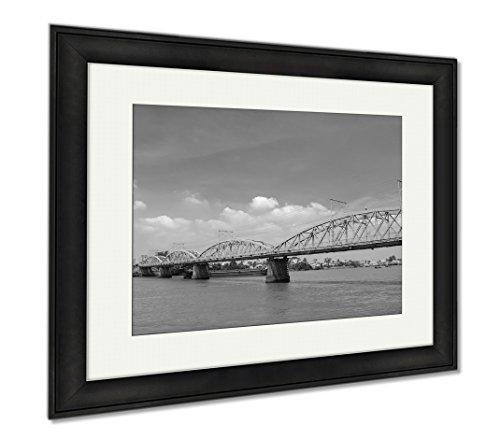 Ashley Framed Prints Old Railway Bridge In Vietnam, Modern Room Accent Piece, Black/White, 34x40 (frame size), Black Frame, (Cenobites Costume)