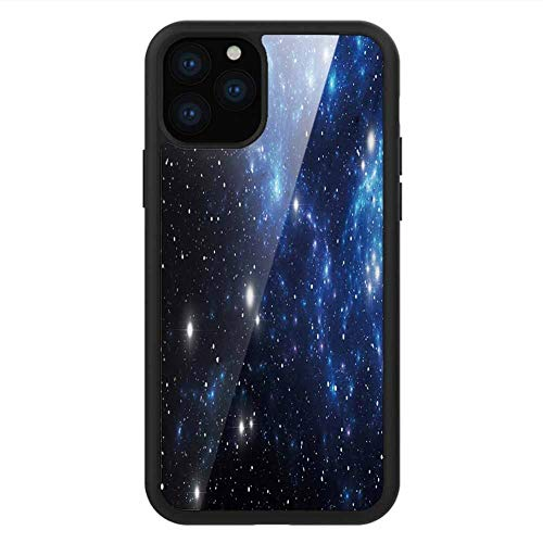 for iPhone 11 5.8in Black Tempered Glass Phone case Constellation,Outer Space Star Nebula Astral Cluster Astronomy Theme Galaxy Mystery,Blue Black White,Non-Slip,Convenient Protective case