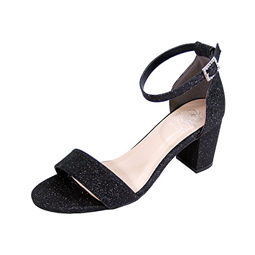 (Floral Adele Women Wide Width Satin Glitter Block Heel Ankle Strap Party Sandals Black 10)
