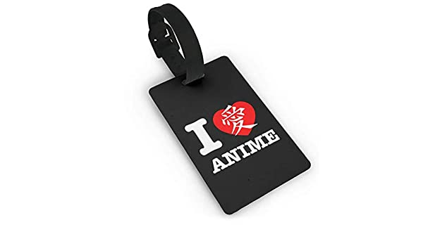 Etiquetas de identificaci/ón de Viaje PVC, para Bolsas, Maletas I Love Heart Anime