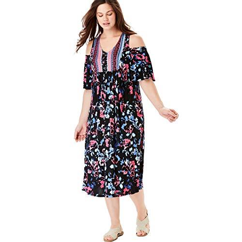 Chelsea Studio Women's Plus Size Cutout Shoulder V-Neck Dress - Bouquet Ribbon Trails, 2X