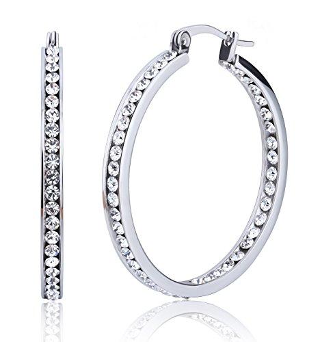 Jstyle Stainless Steel Womens Hoop Earrings Cubic Zirconia Earrings for Teen Girls