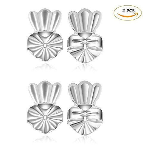 Earring Backings, Yuccer 2 Pairs Heavy Earring Support for Women Crown Earring Safety Backs (Silver)