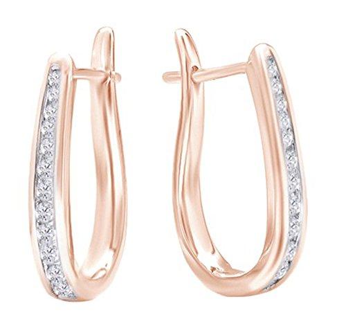 10K Solid Gold Flip Back Diamond Hoop Earrings (1/4ct tw),Rose ()
