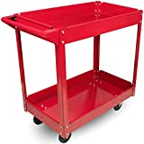 Metal Utility Cart - 33'' x 16'' x 31'' Rolling Tool Cart with Wheels for Shop or Storage or Garage - 2 Shelf Red BW1452