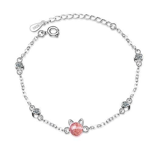 FKGIONG 925 Silver Various Simple Women's Link Bracelet Cute cat Ear Bracelet Bangle Pentagram Moonstone Girl's Birthday -