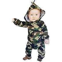 Toddler Boys Girls Camouflage Print Hoodies Romper Fall Winter Zipper Jumpsuit