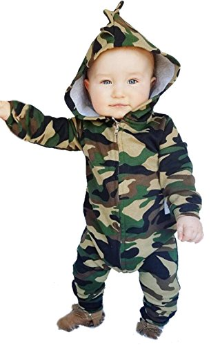 Toddler Boys Girls Camouflage Print Hoodies Romper Fall Winter Zipper Jumpsuit Size 6 12Months Tag80  Camouflage