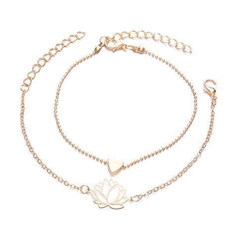 TraveT 2pcs/Set Multilayer Bracelets Bangles for Women Girls Love Heart Lotus Flower Charm Bracelet Double-Layer Chain Bracelets Jewelry -