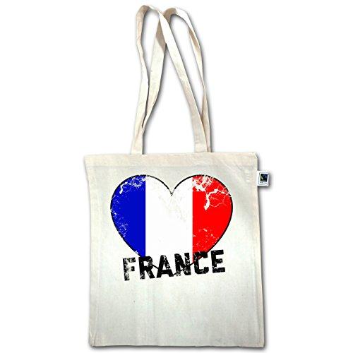Football Wm 2018 - Russia - France Heart Vintage - Unisize - Natural - Xt600 - Manici Lunghi In Juta Bag