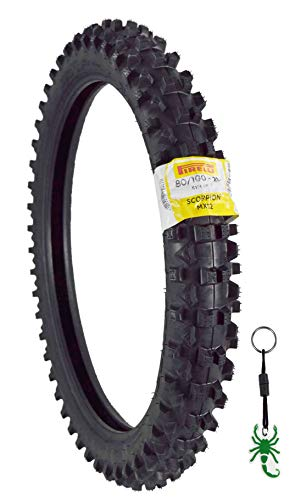 Pirelli Scorpion MX32 Mid Soft Dirt Bike 80/100-21 Front 51M Bias Tube Type Motorcycle Tire with Authentic Pirelli Scorpion Key Chain