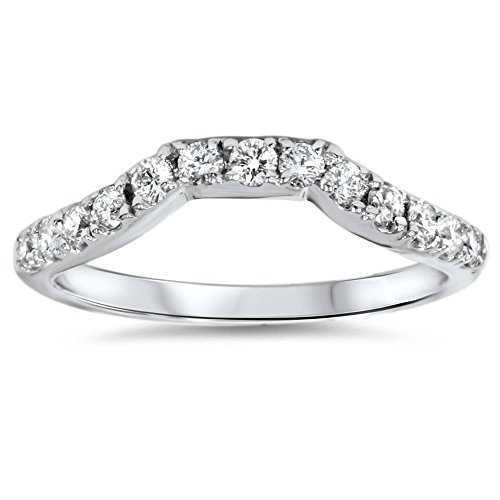 14K White Gold 3/8ct Diamond Wedding Anniversary Curved Guard Ring - Size 7 ()