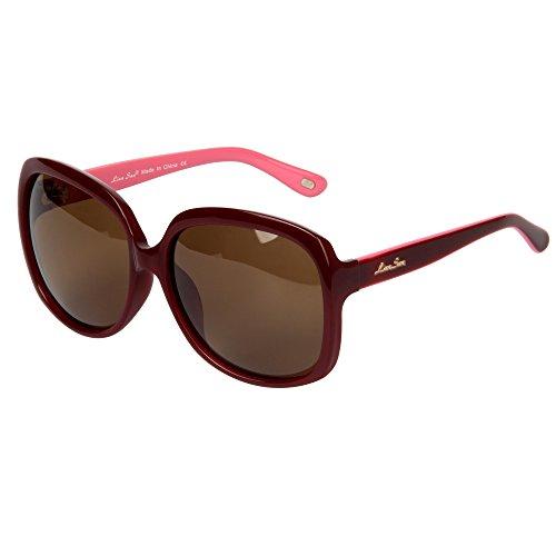 soleil de Femmes Acetate protection Lsp301 LianSan Lunettes Lunettes soleil de Mode polarized Red de oversize polarisšŠe UV400 EqWg1