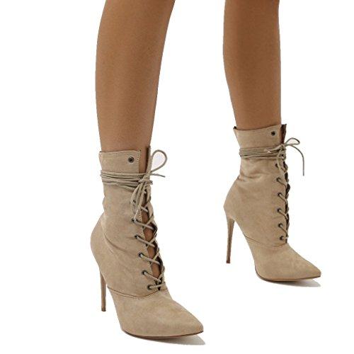 Public Desire Womens Spectrum Paperbag Lace up Ankle Boots Stiletto Shoes Nude Faux Suede UK 6/EU 39/US 8 from Public Desire