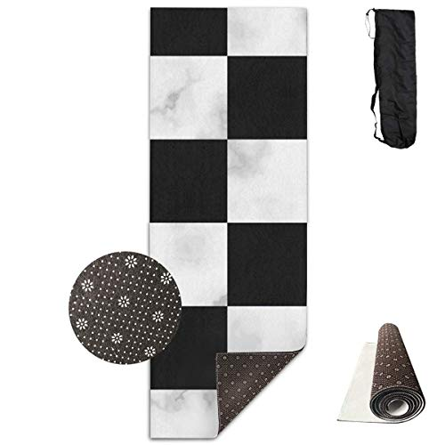 YYRR Estera de yoga Yoga Mats Marble Chess Board Chessboard Soft Non-Slip Thick Exercise Mat Cover Carry Bag Strap for…