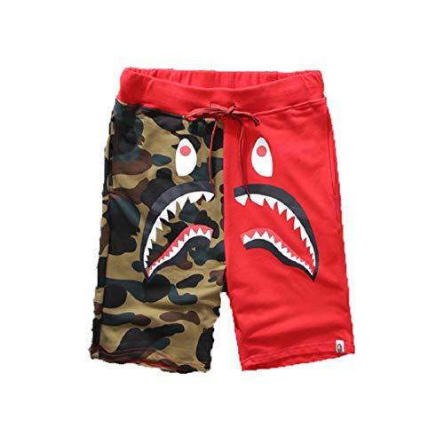 - Big Mouth Shark Ape Bape Camo Mens Casual Sports Pants Fashion Jogger Shorts DP-1red S