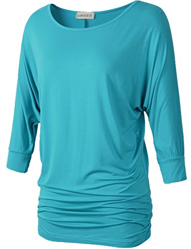 Lanmo Womens Dolman Sleeves Drape Tops Solid Side Shirring Jersey Tee(1X, Lake Blue)