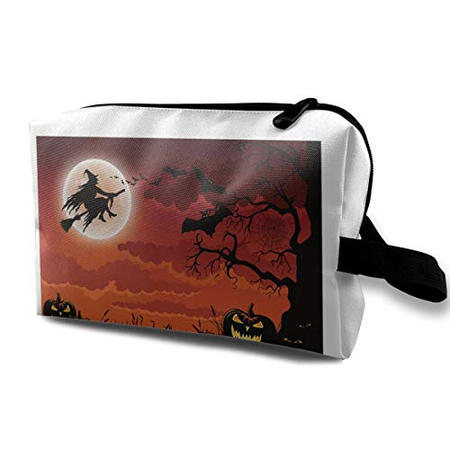 Halloween Pumpkins Bats And A Wicked Witch Flying On Her Broomstick Multi-function Travel Makeup Toiletry Coin Bag Case