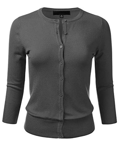 FLORIA Women's Button Down 3/4 Sleeve Crew Neck Knit Cardigan Sweater Charcoal S